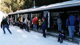 Cedarena -- Along with the hot chocolate, a concession sells coffee, donuts and steaming hot apple cider that was made to sip slowly on the large deck facing the rink.