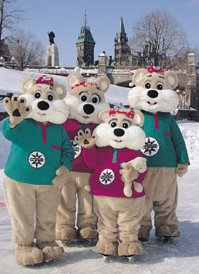 Winterlude: Ice Hog Family -- Copyright National Capital Commission