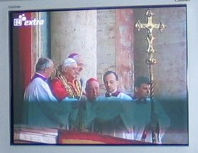 Live pictures of Benedict XVI on The Vatican balcony, as shown in Marktl -- courtesy of Bayerishe Rundfunk.
