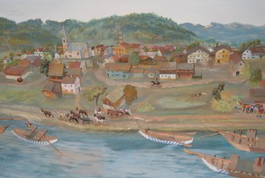 Early painting of Marktl village -- in the Heimat Museum.