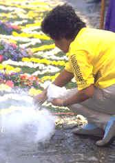 Preparing the incense cinders